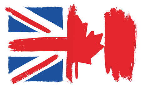 United Kingdom Flag & Canada Flag Vector Hand Painted with Rounded Brush Çizim