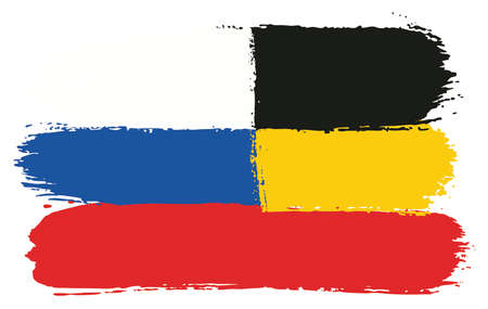 Russia Flag & Germany Flag Vector Hand Painted with Rounded Brush