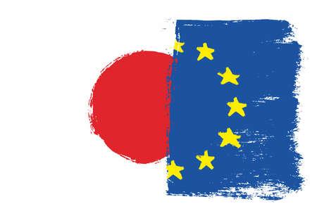 Japan and European Union flag vector illustration