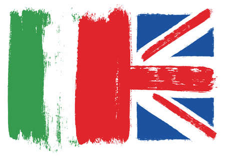 Italy and United Kingdom flag vector illustration