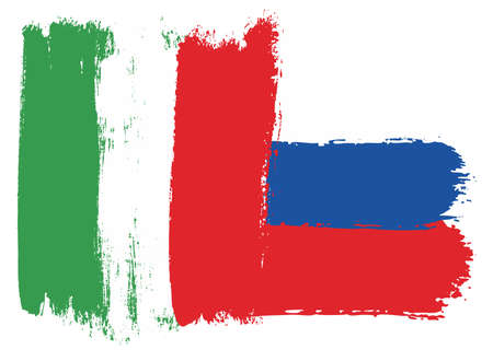 Italy and Russia flag vector illustration