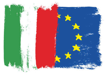 Italy and European Union flag vector illustration