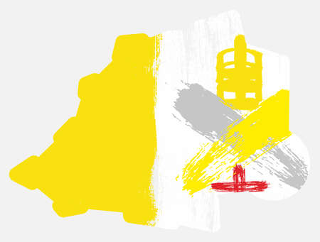Vatican City Flag & Map Vector Hand Painted with Rounded Brush