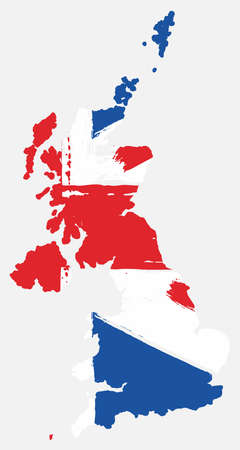 United Kingdom Flag & Map Vector Hand Painted with Rounded Brush Illustration