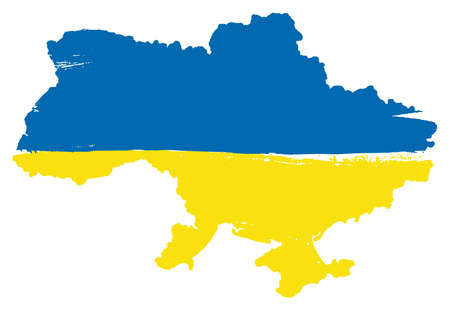 Ukraine Flag & Map Vector Hand Painted with Rounded Brush Illustration