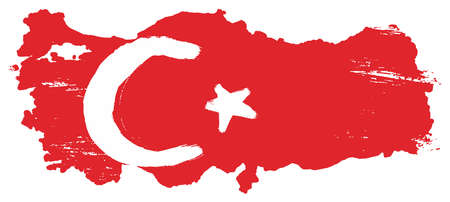 Turkey Flag & Map Vector Hand Painted with Rounded Brush Illustration