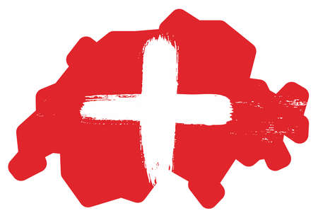 Switzerland Flag & Map Vector Hand Painted with Rounded Brush Illustration