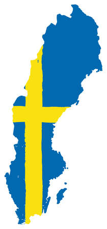 Sweden Flag & Map Vector Hand Painted with Rounded Brush Illustration