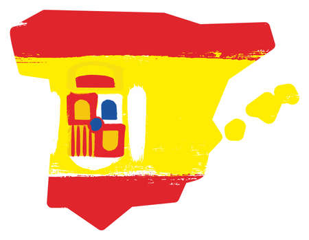 Spain Flag & Map Vector Hand Painted with Rounded Brush