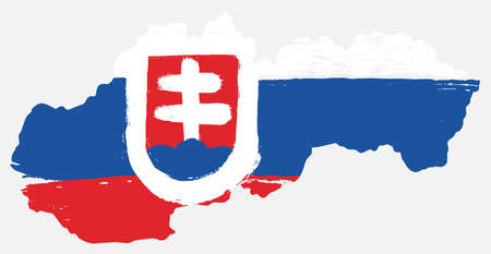 Slovakia Flag & Map Vector Hand Painted with Rounded Brush