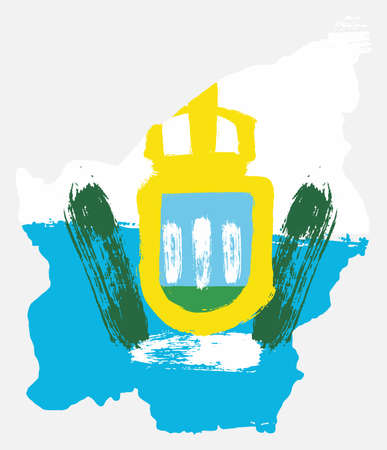 San Marino Flag & Map Vector Hand Painted with Rounded Brush Illustration