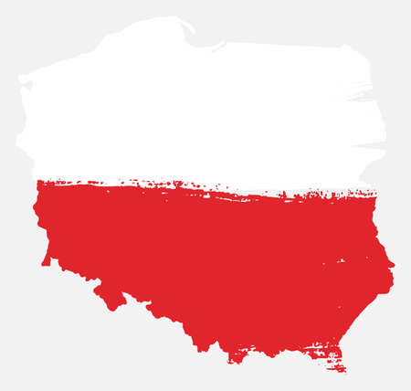Poland Flag & Map Vector Hand Painted with Rounded Brush
