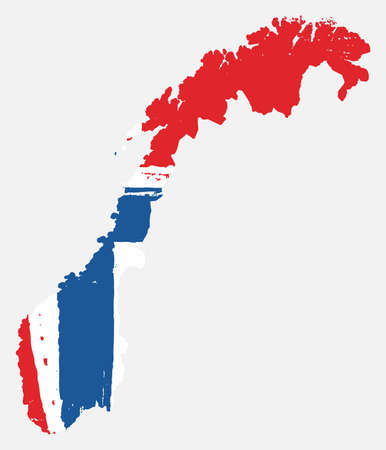 Norway Flag & Map Vector Hand Painted with Rounded Brush