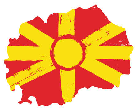 Macedonia Flag & Map Vector Hand Painted with Rounded Brush