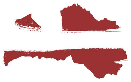 Latvia Flag & Map Vector Hand Painted with Rounded Brush