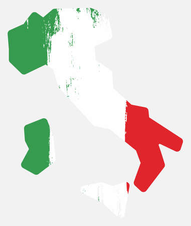 Italy flag and map vector hand painted with rounded brush.