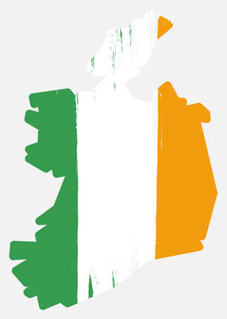 Ireland Flag & Map Vector Hand Painted with Rounded Brush