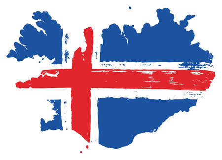 Iceland Flag & Map Vector Hand Painted with Rounded Brush