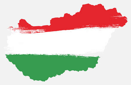 Hungary flag and map vector hand painted with rounded brush.