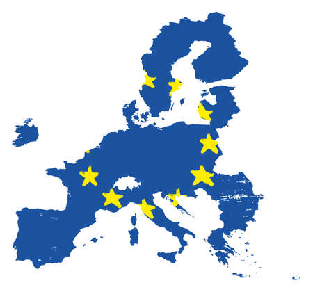 European Union Brexit Flag & Map Vector Hand Painted with Rounded Brush