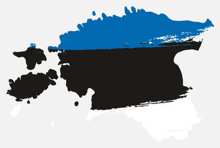 Estonia Flag & Map Vector Hand Painted with Rounded Brush