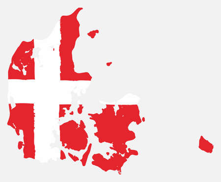 Denmark Flag & Map Vector Hand Painted with Rounded Brush