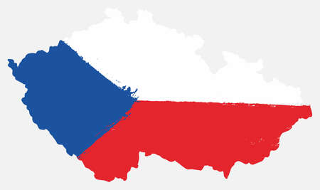 Czech Republic Flag & Map Vector Hand Painted with Rounded Brush