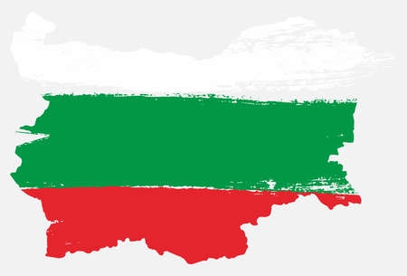 Bulgaria Flag & Map Vector Hand Painted with Rounded Brush