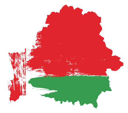 Belarus flag and map vector hand painted with rounded brush.