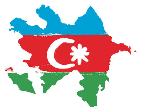 Azerbaijan flag and map vector hand painted with rounded brush. Illustration