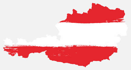 Austria flag and map vector hand painted with rounded brush.