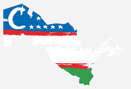 Uzbekistan Flag & Map Vector Hand Painted with Rounded Brush