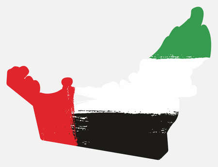 United Arab Emirates flag and map vector hand painted with rounded brush.