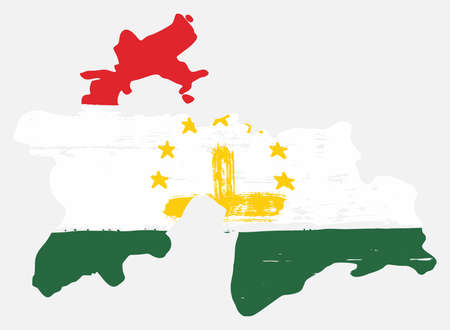 Tajikistan Flag & Map Vector Hand Painted with Rounded Brush