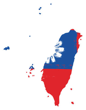 Taiwan Flag & Map Vector Hand Painted with Rounded Brush