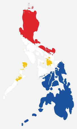 Philippines Flag & Map Vector Hand Painted with Rounded Brush Vectores