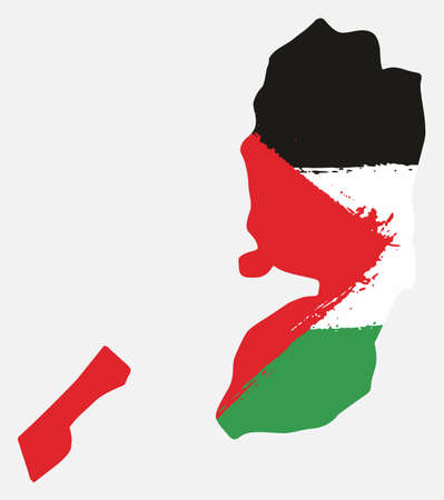 Palestine Flag & Map Vector Hand Painted with Rounded Brush