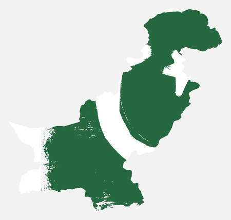 Pakistan Flag & Map Vector Hand Painted with Rounded Brush Illustration