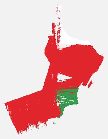 Oman Flag & Map Vector Hand Painted with Rounded Brush