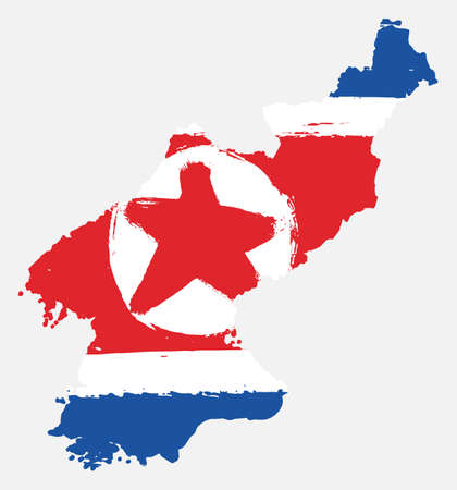 North Korea Flag & Map Vector Hand Painted with Rounded Brush