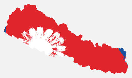 Nepal Flag & Map Vector Hand Painted with Rounded Brush