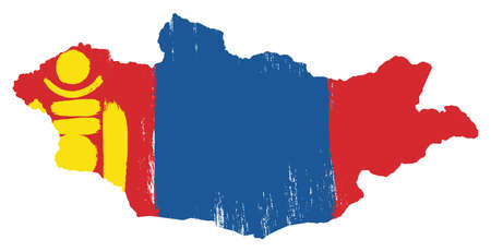 Mongolia Flag & Map Vector Hand Painted with Rounded Brush