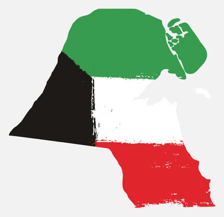 Kuwait Flag & Map Vector Hand Painted with Rounded Brush
