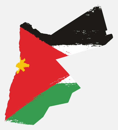 Jordan Flag & Map Vector Hand Painted with Rounded Brush