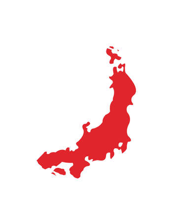 Japan Flag & Map Vector Hand Painted with Rounded Brush