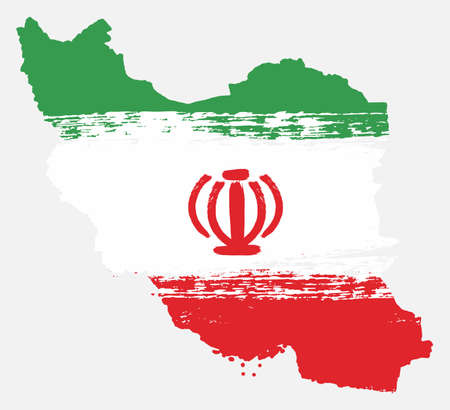 Iran Flag & Map Vector Hand Painted with Rounded Brush Illustration