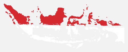 Indonesia Flag & Map Vector Hand Painted with Rounded Brush