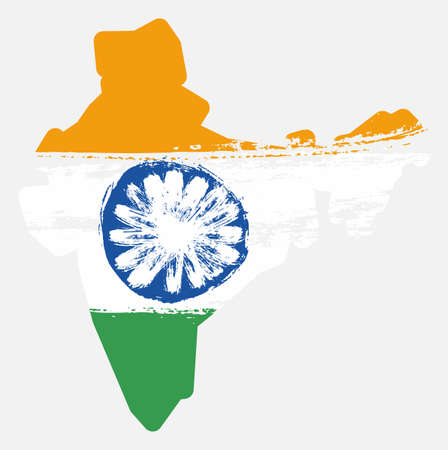India Flag & Map Vector Hand Painted with Rounded Brush