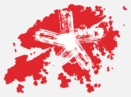 Hong Kong Flag & Map Vector Hand Painted with Rounded Brush