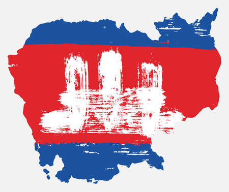 Cambodia Flag & Map Vector Hand Painted with Rounded Brush